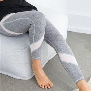 AERIE Move High-Waist Crop Leggings Gray Mesh